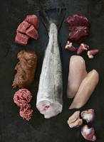 Meat, fish, offal and chicken breast on a black background (ingredients for dog food) 22199086695| 写真素材・ストックフォト・画像・イラスト素材|アマナイメージズ