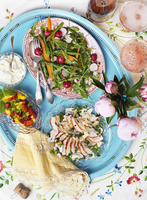 A mid-summer buffet with chicken salad, rocket, radishes and fruit salad (Sweden) 22199090946| 写真素材・ストックフォト・画像・イラスト素材|アマナイメージズ