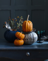 Decorative pumpkins with cutlery, flowers, and glasses of wines 22199091864| 写真素材・ストックフォト・画像・イラスト素材|アマナイメージズ