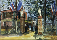 Utrillo, Maurice (1883-1955). Restaurant at Pinson Hill, Montmagny; Guinguette de la Butte Pinson a Montmagny. c.1923 22244002197| 写真素材・ストックフォト・画像・イラスト素材|アマナイメージズ