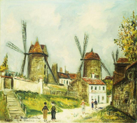 Utrillo, Maurice (1883-1955). The Three Windmills of Montmartre; Les Trois Moulins de Montmartre. 1933 22244002207| 写真素材・ストックフォト・画像・イラスト素材|アマナイメージズ