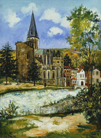 Utrillo, Maurice (1883-1955). Church and Castle at Pont-a-Mousson; L'Eglise et Chateau a Pont-a-Mousson. 1928 22244002213| 写真素材・ストックフォト・画像・イラスト素材|アマナイメージズ
