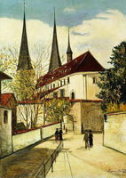 Utrillo, Maurice (1883-1955). The Cathederal in Lucerne; La Cathedrale de Lucerne. 1929 22244002224| 写真素材・ストックフォト・画像・イラスト素材|アマナイメージズ