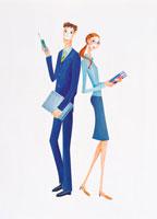 ビジネスマンとオフィスレディ イラスト 22257000332| 写真素材・ストックフォト・画像・イラスト素材|アマナイメージズ
