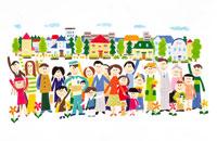 町をバックに集まった人々 イラスト 22276001893  写真素材・ストックフォト・画像・イラスト素材 アマナイメージズ