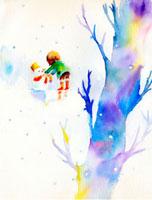 雪だるまと男の子 22276006356| 写真素材・ストックフォト・画像・イラスト素材|アマナイメージズ