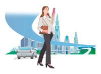携帯電話を扱うビジネスウーマン 22370000209| 写真素材・ストックフォト・画像・イラスト素材|アマナイメージズ