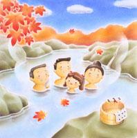 温泉に入ったファミリー イラスト 22451011541| 写真素材・ストックフォト・画像・イラスト素材|アマナイメージズ