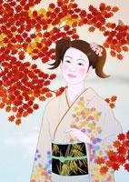 和服女性 イラスト 22451030581| 写真素材・ストックフォト・画像・イラスト素材|アマナイメージズ