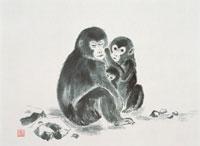 猿の墨絵 22451031307| 写真素材・ストックフォト・画像・イラスト素材|アマナイメージズ