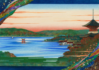 平安の雅イラスト安芸宮島 22451034338| 写真素材・ストックフォト・画像・イラスト素材|アマナイメージズ