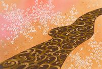 和風イラスト川の流れと桜 22451035986| 写真素材・ストックフォト・画像・イラスト素材|アマナイメージズ