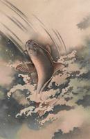 和風イラスト鯉の滝登り 22451035989| 写真素材・ストックフォト・画像・イラスト素材|アマナイメージズ