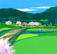 桜咲く田園風景イラスト(3月) 22451036013| 写真素材・ストックフォト・画像・イラスト素材|アマナイメージズ