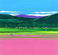 レンゲ咲く田園風景イラスト(4月) 22451036014| 写真素材・ストックフォト・画像・イラスト素材|アマナイメージズ