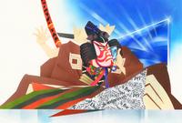 浮世絵風スマートフォンで話す鎌倉権五郎景政 22451036019  写真素材・ストックフォト・画像・イラスト素材 アマナイメージズ