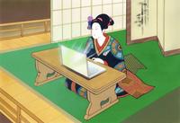浮世絵風パソコンを操作する着物女性 22451036020| 写真素材・ストックフォト・画像・イラスト素材|アマナイメージズ