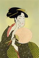 浮世絵風スマートフォンで話す高島屋おひさ 22451036022  写真素材・ストックフォト・画像・イラスト素材 アマナイメージズ