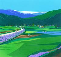 アジサイ咲く田園風景イラスト(7月) 22451036033| 写真素材・ストックフォト・画像・イラスト素材|アマナイメージズ