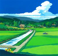 ヒマワリ咲く田園風景イラスト(8月) 22451036034| 写真素材・ストックフォト・画像・イラスト素材|アマナイメージズ