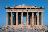 Old ruins of a temple, Parthenon, Acropo 22907000127| 写真素材・ストックフォト・画像・イラスト素材|アマナイメージズ