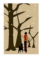 散歩中に雪空を見上げる女性と犬 イラスト 22987000001  写真素材・ストックフォト・画像・イラスト素材 アマナイメージズ