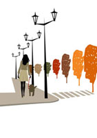 街を犬と散歩する女性 22987000060  写真素材・ストックフォト・画像・イラスト素材 アマナイメージズ