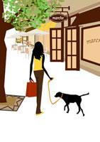 犬と街を歩く女性 22987000064  写真素材・ストックフォト・画像・イラスト素材 アマナイメージズ