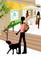 犬と町を散歩する女性 22987000073  写真素材・ストックフォト・画像・イラスト素材 アマナイメージズ