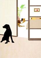 部屋で読書をする女性と犬 22987000075  写真素材・ストックフォト・画像・イラスト素材 アマナイメージズ