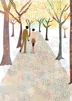 並木道を歩くカップル 22987000090  写真素材・ストックフォト・画像・イラスト素材 アマナイメージズ