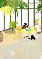リビングのソファで子供と本を読む母親 22987000100  写真素材・ストックフォト・画像・イラスト素材 アマナイメージズ