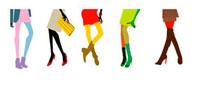 カラフルな洋服を着た5人の女性の足 22987000109  写真素材・ストックフォト・画像・イラスト素材 アマナイメージズ