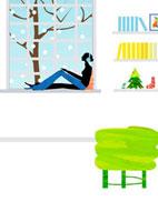 雪の日に窓辺で音楽を楽しむ女性 22987000118  写真素材・ストックフォト・画像・イラスト素材 アマナイメージズ