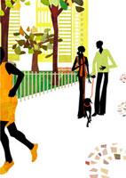 犬を散歩させる男性と女性 22987000120  写真素材・ストックフォト・画像・イラスト素材 アマナイメージズ