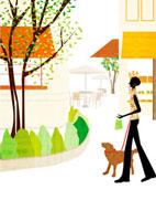 犬と散歩する女性 22987000124  写真素材・ストックフォト・画像・イラスト素材 アマナイメージズ
