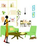 リビングにいる女性と犬 22987000126  写真素材・ストックフォト・画像・イラスト素材 アマナイメージズ