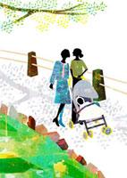 母、娘、赤ん坊の3世代での散歩 22987000135  写真素材・ストックフォト・画像・イラスト素材 アマナイメージズ