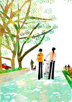 公園を散歩する男女のカップル 22987000137  写真素材・ストックフォト・画像・イラスト素材 アマナイメージズ