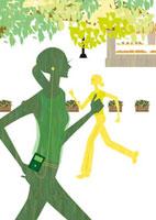 公園をウォーキングする女性 22987000144  写真素材・ストックフォト・画像・イラスト素材 アマナイメージズ