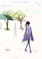 街をあるく女性 22987000149  写真素材・ストックフォト・画像・イラスト素材 アマナイメージズ
