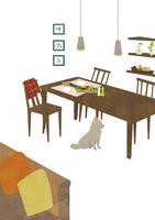 ダイニングと犬 22987000174  写真素材・ストックフォト・画像・イラスト素材 アマナイメージズ