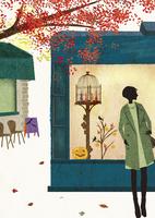 ハロウィン風に飾られたショーウインドウの前に立つ女性 22987000188  写真素材・ストックフォト・画像・イラスト素材 アマナイメージズ
