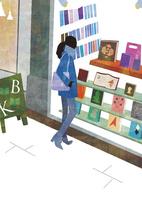 本屋のウインドウをのぞく女性 22987000190  写真素材・ストックフォト・画像・イラスト素材 アマナイメージズ