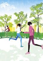 走る女性 22987000194  写真素材・ストックフォト・画像・イラスト素材 アマナイメージズ