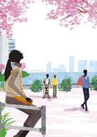 桜を見上げる女性 22987000196  写真素材・ストックフォト・画像・イラスト素材 アマナイメージズ