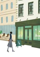 街を歩く女性 22987000198  写真素材・ストックフォト・画像・イラスト素材 アマナイメージズ