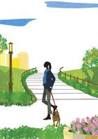 犬と散歩する女性 22987000200  写真素材・ストックフォト・画像・イラスト素材 アマナイメージズ
