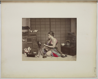 """Views and costumes of Japan"", Jeune femme agenouillee, a sa toilette 26004021128
