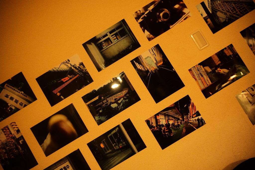 Photos on the wall.